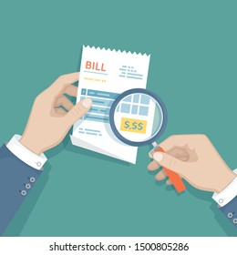 Man's hands with magnifying glass above receipt inspects the payment. Studying paying bill. Paying goods,service, utility, restaurant. Invoice, check, bill sign Raster version