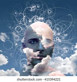 Mans head in clouds 3D Render
