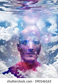 Mans head with stars and clouds  Some elements provided courtesy of NASA