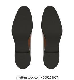 Mans Shoes Bottom on White Background