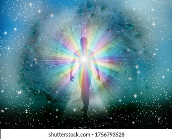 Man's silhouette with rays of light. Aura or soul. 3D rendering
