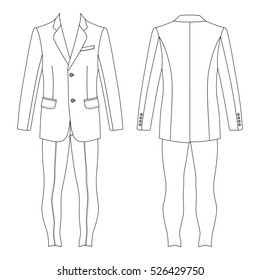 Man's suit (jacket & skinny jeans) outlined template front & back view