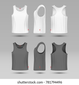 Mans white blank tank singlet. Male shirt without sleeves template. T-shirt front and back, illustration of mock up shirt