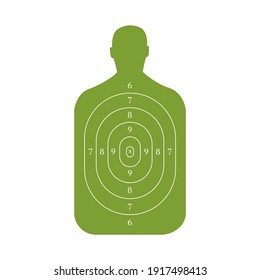 Man-shaped shooting target for practice on a rifle range