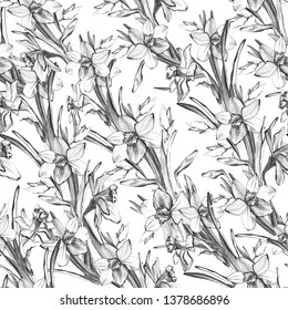Manual bright seamless pattern with hand drawn flowers narcissus. Contour floral realistic sketch on white background. Be used to greeting card, poster, textile, wallpaper, print, branding.