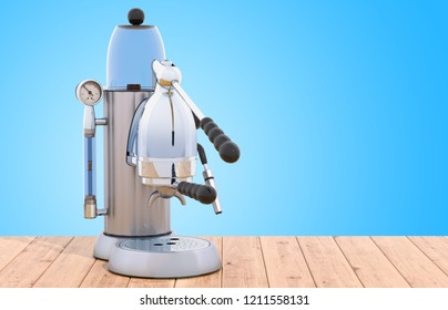 Manual coffeemaker or coffee machine retro design on the wooden table. 3D rendering