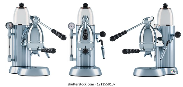 Manual coffeemaker or coffee machine retro design. 3D rendering isolated on white background