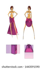 Manual to make a skirt of a scarf or pareo. Step by Step Guide. Design drawing and pareo addition scheme