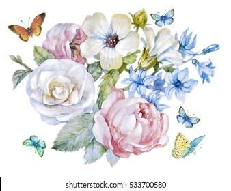 manual painting watercolor flowers and butterflies vintage