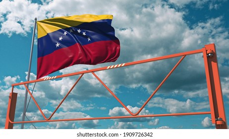 Manual swing arm road barrier and flag of venezuela. restricted entry related  animation 3D rendering