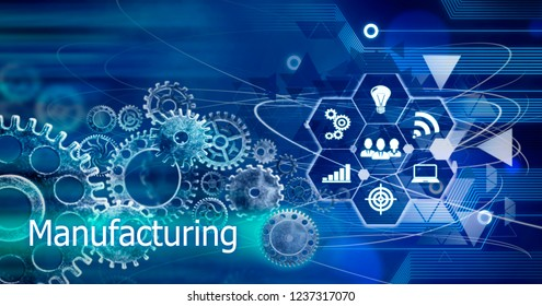 Manufacturing concept, Innovation Computer Data Cogs Technology,Training,background