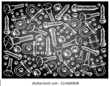 Manufacturing and Industry, Illustration Hand Drawn Sketch Wallpaper Background of Mating Screws, Lag Bolts and U Bolts. A Type of Fastener Used to Fasten Materials Together.