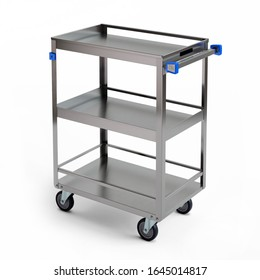 Manufacturing Trolley, Stainless Steel Three shelf Utility Cart with guard rails for transporting, 3D illustration