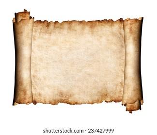 Manuscript, unfolded piece of parchment antique paper grungy texture background
