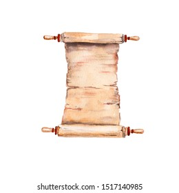 manuscript watercolor drawing, roll of ancient writing