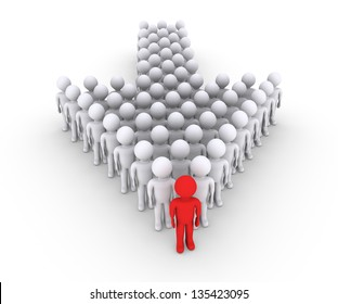 Many 3d people form an arrow with the leader in front