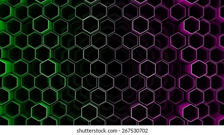 Many abstract hexagons a gradient fill (tecnology background)