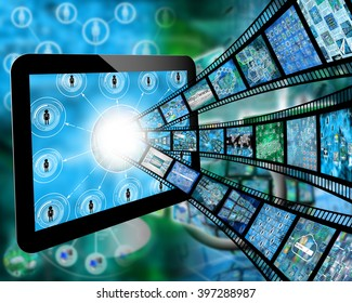Many abstract images on the theme of computers, Internet and high technology.3D