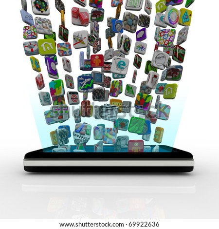 Many application icons are downloaded into a modern black smart phone, appearing to float over the device