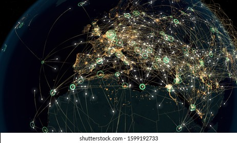 Many Arrows Fly Among Cities. Global Connections over Europe and Africa. Global Communications - Destinations all over the World. Flight Paths. The High-Resolution Texture of City Lights. 3D Rendering