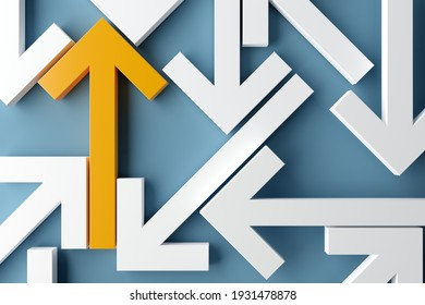 Many arrows pointing in different directions with one arrow showing direction over blue background, solution, strategy, plan or success concept, 3D illustration
