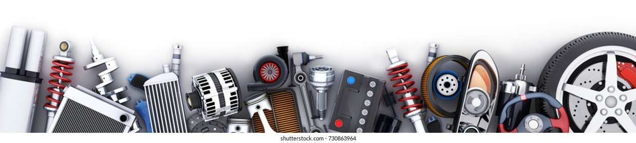 Many auto parts row. 3d illustration