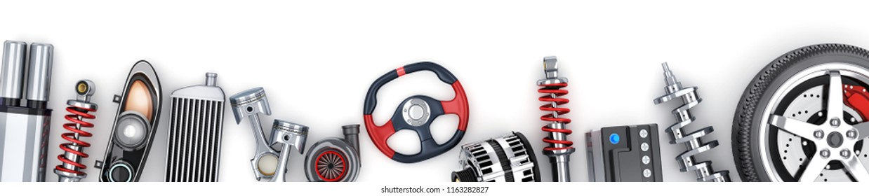 Many auto parts row on white background. 3d illustration