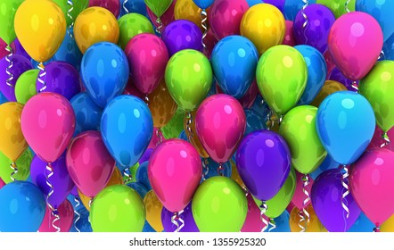 Many balloons, colored background .3d illustration
