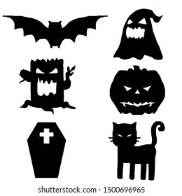 Many cartoon character of Halloween day (Bat, Ghost, Thee devil, Pumpkin, Casket and Cat), Black color on white background