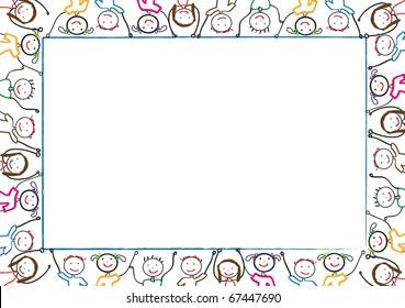 Many of children hold blank