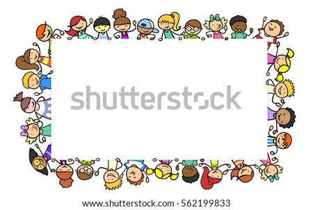 Many Children Holding White Empty Frame Stock Illustration 562199833 ...