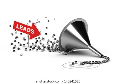 Many chrome balls entering into a conversion funnel and then output as qualified sales, conceptual 3D render suitable for Business or Marketing concept