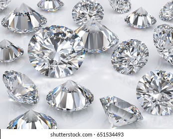 Many classic round brilliant cut diamonds scattered on white  background. Close-up view. 3D rendering illustration