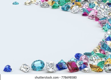 Many colorful diamonds and jewels scattered along the  image corners as a half-round frame an white background. 3D rendering illustration.