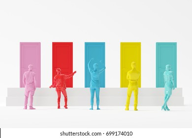 Many Colorful people standing in front colorfull door. minimal concept. 3D render.