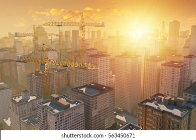 Many cranes above the construction of city by sunset or sunrise. 3D illustration with photo montage.