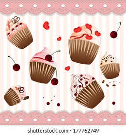 many cupcakes on the  pink background