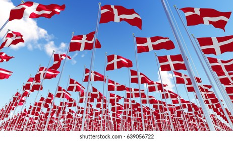 Many denmark flags on blue sky background. Three dimensional rendering illustration.