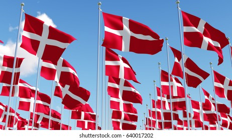 Many Denmark Flags waving in the wind against blue sky. Three dimensional rendering illustration.. Three dimensional rendering illustration.