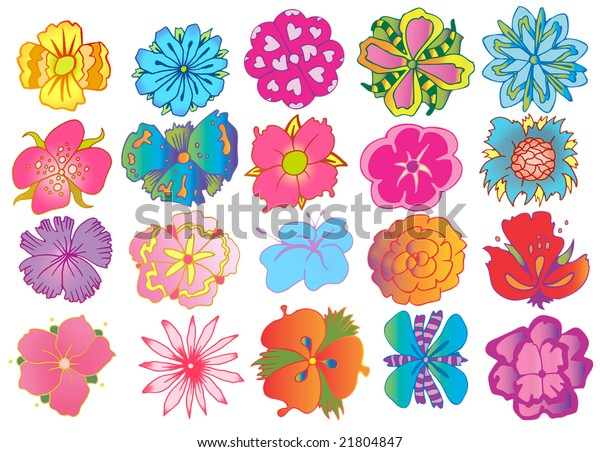 Many Designs Flowers Simple Shape Stock Illustration 21804847