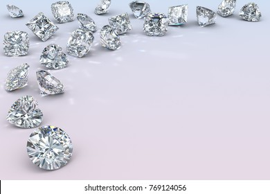 Many diamonds of various cut styles scattered along the image corner, close-up view on light blue-pink background. 3D rendering illustration