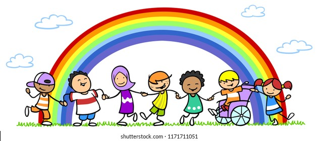 Many different children in front of a colorful rainbow as an integration and inclusion concept
