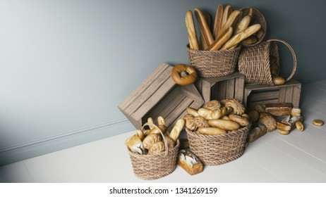 Many different types of bread in wicker baskets. 3d illustration