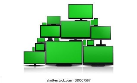Many different types of screens. TVs, computer monitors, smartphones and tablets. They laid on each other in a pile isolated on a white background. They are all with a green screen.