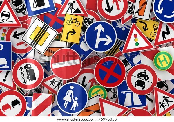 Многие европейские дорожные знаки смешиваются вместе