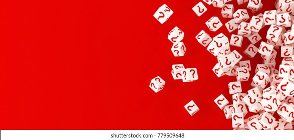 Many falling blocks with question marks. 3d illustration