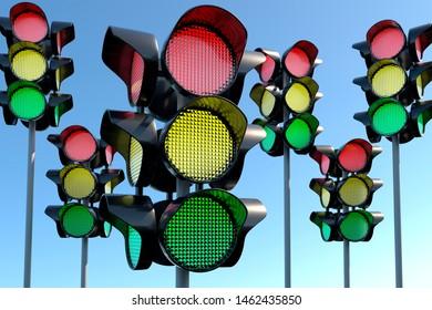 Many few Traffic light against the sky. Illustration for the International Day of Traffic Light August 5. 3d rendering.