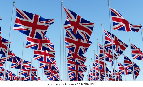Many flags of the United Kingdom waving in blue sky. Three dimensional rendering 3D illustration.