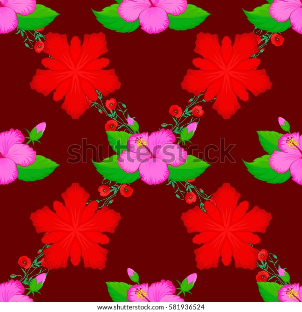 With many flowers on red background. Floral watercolor background. Textile print for bed linen, jacket, package design, fabric and fashion concepts.