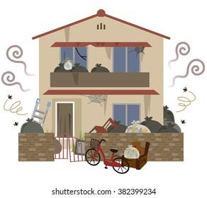 "many garbage and the dirty house. ""Gomi-yashiki"""